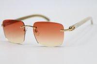 8300816 Neue Brille Größe: 54-18-140mm Frauen Büffel 2021 Sonnenbrille Randlose Männer Horn Weiß White echte Beliebte Mode Rahmen Natürliche qbbef