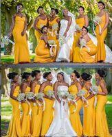 2021 Robes de demoiselle d'honneur jaune de la sirène Jardin d'été africain Campagne Mariage Fête de mariage Fête d'honneur Taille Plus Taille Custom Custom