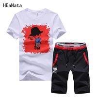 Mens Casual Tracksuit Set Fitness Summer Fitness 2 PCS Suit Shorts Hommes costume + Shorts Set de piste Tees Man Sporting Fit Tops Slim Outwear FPBEN