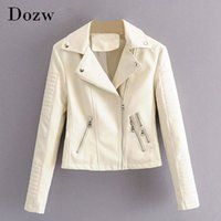 Lady Pu Leather Jacket Streetwear Long Sleeve Solid Coat Female Zipper Pleated Short Tops Outerwear Spring Autumn 210422