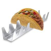 6 Tiene taco supporto in acciaio inox taco rack shell taco display stand Burrito Tortilla piastra vassoio Y1207