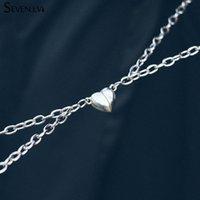 2 teile / satz Magnet zieht Paar Halskette Liebe Herz Charme Schmuck Titanium Stahlkette Halsketten Liebhaber Geschenk Für Frauen Männer Chokers