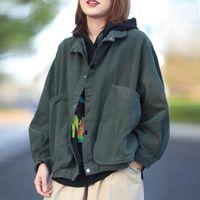 FairyNatural Female Korean Casual Loose Pocket Turn Down Collar Jacket Tops 2021 Ladies Long Sleeve Autumn Spring Coats Women's Jackets