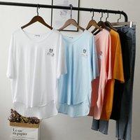 [Bizheng] Clavícula T 2021 Verano Nuevo Bordado Flojo Coreano Camiseta grande para mujer 4994