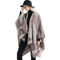 Mingjiebihuo новая мода осенью и зима женская мода геометрический шаблон шаль на белом толстый большой размер девушки свободно пончо x0722