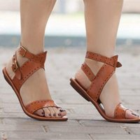 Sandals Women Flat Gladiator Leather Summer Shoes Woman Rome Style Double Buckle Casual Beach Sandles Plus Size 35-43
