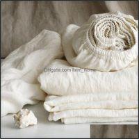 Sheets Bedding Supplies Textiles Home Gardensheets & Sets Bed Linen Fitted Sheet 140X190 Natural Flax Elastic Pure Bedspread 90 Duvet Er Cas