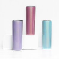 Sublimation Tumbler 20oz Glitter Tumblers Mugs Stainless Steel Skinny Tumber Rainbow Tumblers Vacuum Insulated Beer Coffee Mugs with Straw