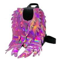 Новый 2021 лазерный мешок крыла женский тенденционный рюкзак многоцветный