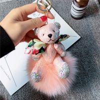 Bow fabric animal bear cartoon girly cute Keychain keyring pom fluffy Fox fur bag purse charms funny gifts for women