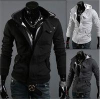 Moda Hombres Casual Hooded Cardigan Chaqueta Abrigo Hombre Outerwear Ropa 212 Negro Oscuro gris