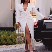 Casual Dresses Mulheres elegantes blazer vestido ternos manga longa botões envoltório maxi casaco de jaqueta elegante moda senhora tamanho grande festa à MCYV