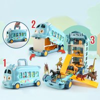 الأطفال ديناصور سيارة حافلة لعبة صبي فتاة الحيوان نموذج محاكاة المشهد مربع صغير الحيوان لعبة سيارة الكرتون الحيوان سيارة طفل هدية