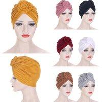 Donne Musulmani Stretch Hijab Turban Twist Knot Chemo Cap Cappuccio perdita di capelli Cover Capo Sciarpa Cappello Cappello ISLAMICA Cappello di cancro islamico Colore solido