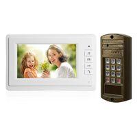 1 مجموعة الذكية الرئيسية الباب جرس 7 بوصة شاشة LCD سلك الفيديو الهاتف الأمن إنذار الوصول الاتصال الداخلي نظام التحدث الهاتف