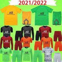 2021 2022 PSG adulto kit goleiro Soccer Jersey Paris # 1 K.Navas 20 21 22 terceiro quarto MBAPPE conjunto masculino camisa de futebol MESSI SERGIO RAMOS DI MARIA terno uniforme