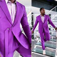 Men's Suits & Blazers Summer Purple Customized Mens Wedding Tuxedos Peaked Lapel Slim Fit Groom Wear Dinner Prom Party Blazer 2 Pieces (Jack
