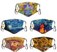 Aangepaste Logo Van Gogh Olieverf Gedrukt Dusticht Winddicht Mode Wassen Herfst Lente Warm Pluggable Filter Element Mask