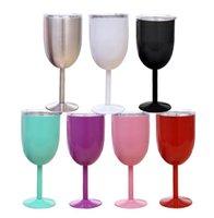 10Oz Weingläser 304 Edelstahl Doppelwand Vakuum Tumbler Isolierte Tassen mit Deckel Becher Glas LLA5728