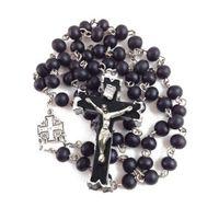 Rosário católico preto pérolas de madeira sagrada pai e santa mãe de deus cruz por jóias religiosas colar