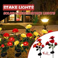 2pcs 4 Head Red Rose Flowers Solar LED Decorative Outdoor Lawn Yard Lamp Garden Decorations Stake Lights#23 Lamps