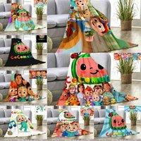 Niños Manta de dibujos animados Cocomelón JI Impresión 3D Mantas de franela Hoja de cama Napecha de verano Cubierta Copa de cama Coco Melon Carpet 80 * 120cm G3886He