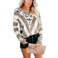 Women's Sweaters Autumn Print Knitted Sweater Women Elegant Leopard Striped Pullovers Winter Loose Long Sleeve Street Sueter Mujer