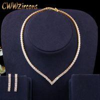 Brincos Colar muito brilhante zircônia cúbica pavimentar cor amarela cor de ouro mulheres gargantilha e brinco brides jóias conjunto t421