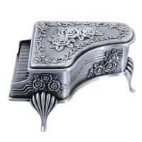 Bolsas de joyería, bolsas Vintage Metal Piano Box Treasure Tinket Anillo Pendientes Collar Mantenimiento Gift1