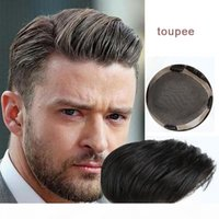 French Lace Front Mens Toupee Hairpiece Skin PU Hair System BX2 with Real Natural Lace Men's Wig Custom Product