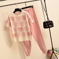 Spring Summer Casual Fashion Suit Female Small Appearance Tall Youthful Temperament Knitted Short-sleeved Pants Two-piece Women's Suits & Bl