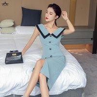Leiouna Blue Off Women Sans Manches Bouton Sans manches Patchwork Slit V-Col Veau Corée Fashion Slim Party Office Baldoyal Robe d'été