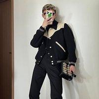 Style Yuppie Baseball Britannique Uniforme Hommes et la même veste de coutures en cuir de laine