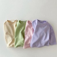 T-shirts Kids Cotton Cozy Candy Color Long Sleeve Tshirt Korean Baby Loose Causal Tops Boys Girls Base Shirt Clothes