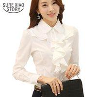 Whiite Chiffon-Bluse-Hemd-Langarm-Frauen-Hemden Korean-Mode-Rüschen Damen Black Büro-Blusen Cheres 8c81 Frauen