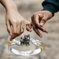 Hot New Design Fashion Cute Cat Ring Animal Wedding Engagement Party Jewelry Size 6-10 Ladies Jewelry Gift Rings for Women