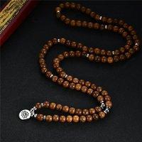 Pendentif Colliers Charm Chapitre Yoga Multilaye en bois 108 Perles de bois Lotus OM Bracelet Tibétain Bouddhiste Mala Bouddha pour femmes Hommes Bijoux GI