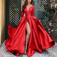 Vintage mörkgrön bollklänning Prom Aftonklänningar Formell Elegant Lace Muffe Applique Sequin Long Formal Pageant Gowns 2021