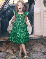 Summer Kids Girls Cotton Dress Baby Girl Flowers printing Green Dresses Children beach clothing