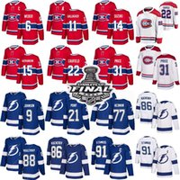 Montreal Canadiens Jerseys de Hóquei 22 Cole Cole Cola 14 Nick Suzuki 31 Carey Price Tampa Bay Lightning 91 Steven Stamkos 86 Kucherov 77 Hedman