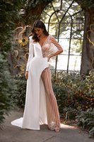 Sexy Jumpsuit Wedding Dresses Bridal Gowns Backless 2021 Summer Pants Suit Illusion Tulle Long Sleeve V-Neck Sweep Train Open Back Bride Dress
