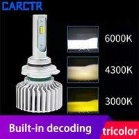 자동차 헤드 라이트 CARCTR LED 헤드 라이트 전구 H1 H3 H7 H9 H11 9005 9006 9012, H4 H13 35W 12V 내장 디코딩 스마트 삼색 안개 빛