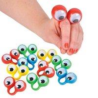 Party Masks 10 шт. Главные пальцы марионетки пластиковые кольца с Wiggle глазами игрушка для детей для детей сортированные цвета подарочные игрушки пината наполнители
