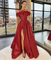 Arabic Burgundy Aso Ebi Sequined Split Evening Dresses Off the Shoulder Sweep Train Formal Prom Dress Second Reception Gowns M122