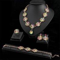 Earrings & Necklace Crystal Flower Pendant Ring Bracelet Jewelry Set Fashion Bridal Wedding Party Choker African Dubai Collar Bibs