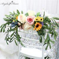 Decorative Flowers & Wreaths Artificial Flower Wreath Garland Bridal Bouquet Chair Back Eucalyptus Leaf Green Plants Peony Wedding Decor Pro