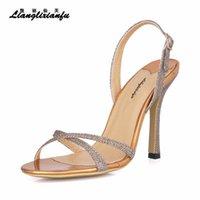 Stilettos verano sandalias muyer estrecho banda 10 cm zapatos de tacones delgados mujer bombas de hebilla de oro Sandalias de oro caídas