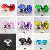 Drawer Cabinet Furniture Handle Knob Screw 30mm Diamond Crystal Glass Door Knobs ZZC3308