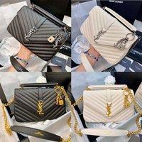 Damen Black Calfskin Kaviar Classic Diamant Stepptasche Ketten Doppelklappe Medium Echtes Leder Crossbody Umhängetaschen 019