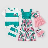 Vieeoease Family Matching Outfits 2021 Summer Sleeveless Vest Floral Lace Dress Stripe T-shirt Dad Mommy and Me CC-914